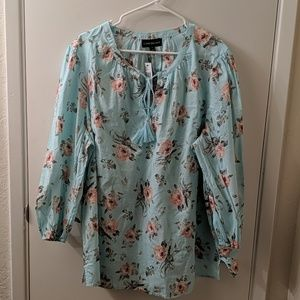 Lane Bryant blue floral peasant top